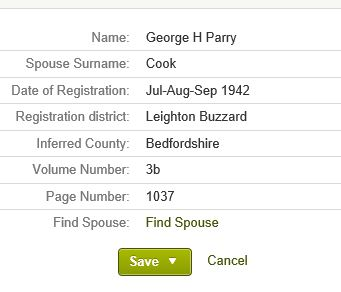 Marriage entry for George H Parry in 1942.