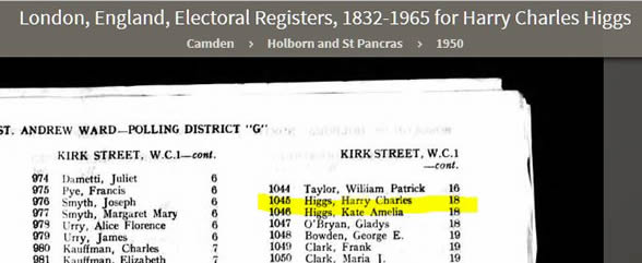 1950 Census entry showing Kit and Harry at Kirk Street