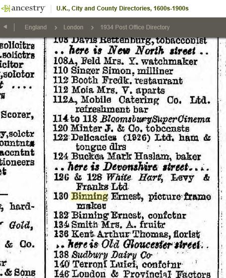 1934 Trade Directory entry for Binning shop