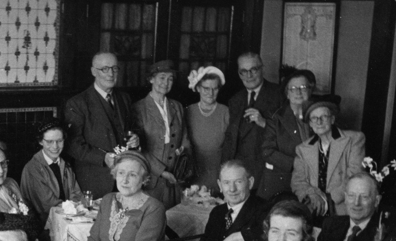 Members of the Archer family gathering for a meal, close-up of Fred, Em, Ethel and Harry